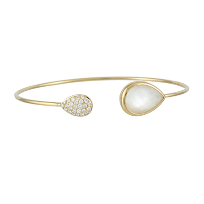 , White Orchid Mother of Pearl Bangle in 18K Yellow Gold