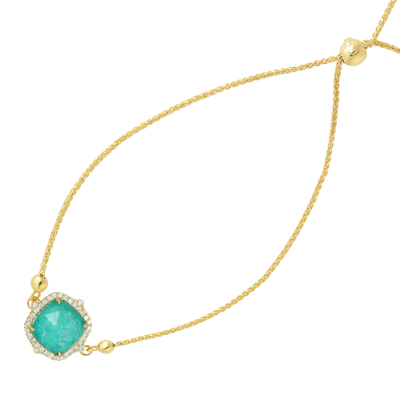 , Amazon Breeze Amazonite & Diamond Bracelet 14K Yellow Gold