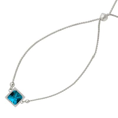 , London Blue Topaz & Diamond Bangle in 14K White Gold