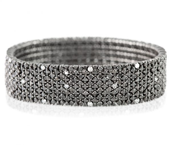 , Black Diamond Bracelet in 18K White Gold
