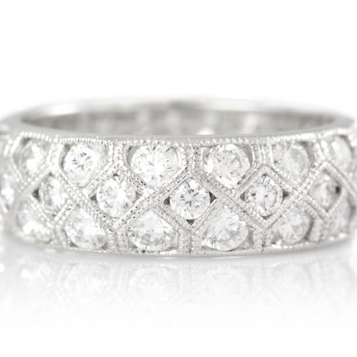 , 3 Row Diamond Eternity Band with Milgrain