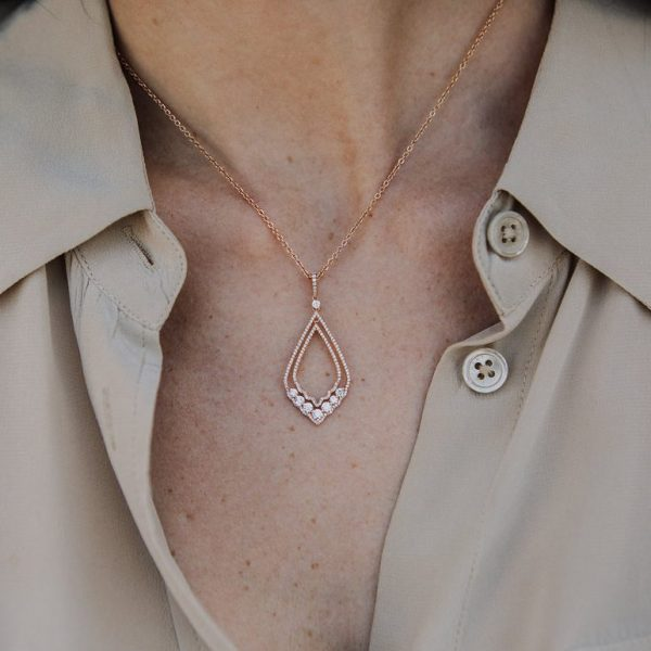 , 16″ Rose Gold and Diamond Pendant Necklace