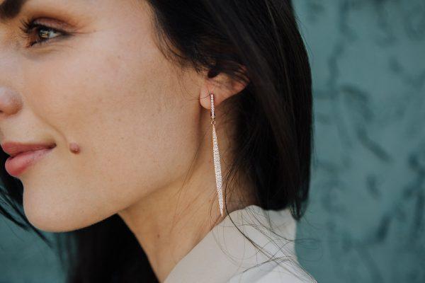 , 18kt Rose Gold and Diamond Long Drop Earrings
