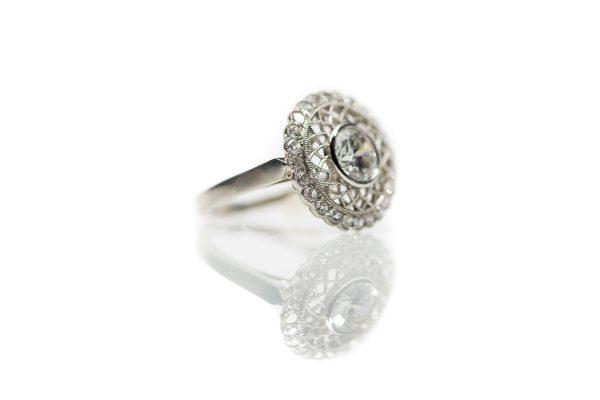 , 1.00ct Bezel Set Diamond Engagement Ring set in Platinum