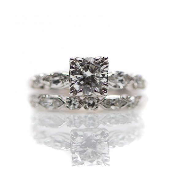 , Vintage Engagement Ring Set 0.63ct diamond center with matching marquise and round diamond band