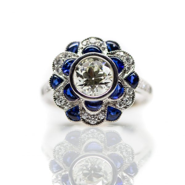 , Diamond and Sapphire Fashion Flower Ring Set in a Platinum