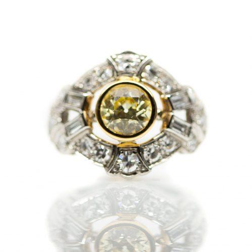 Vintage Three Stone Ring Platinum, Vintage Three Stone Ring Platinum
