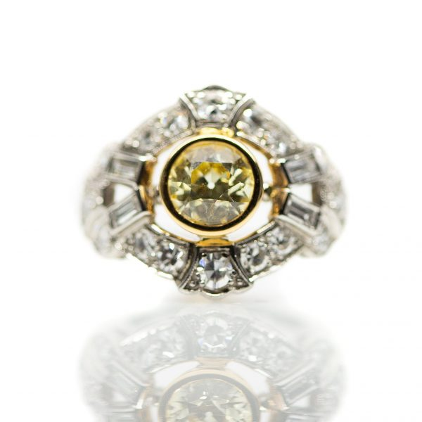 , 0.99ct GIA Certified Fancy Yellow Diamond Ring