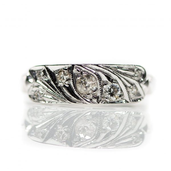 , Old European Cut Diamond and White Gold Fashion Ring