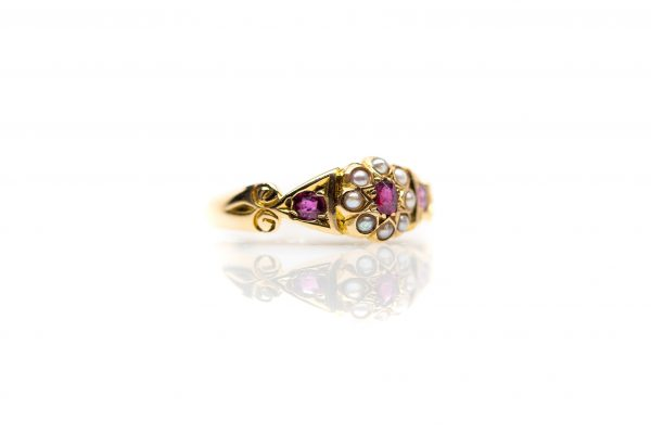 , Vintage Ruby and Seed Pearl Fashion Ring