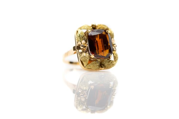 , Vintage Madeira Topaz ring 18kt rose and yellow gold