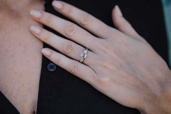 , Vintage Emerald Cut Diamond Engagement Ring 14kt White Gold
