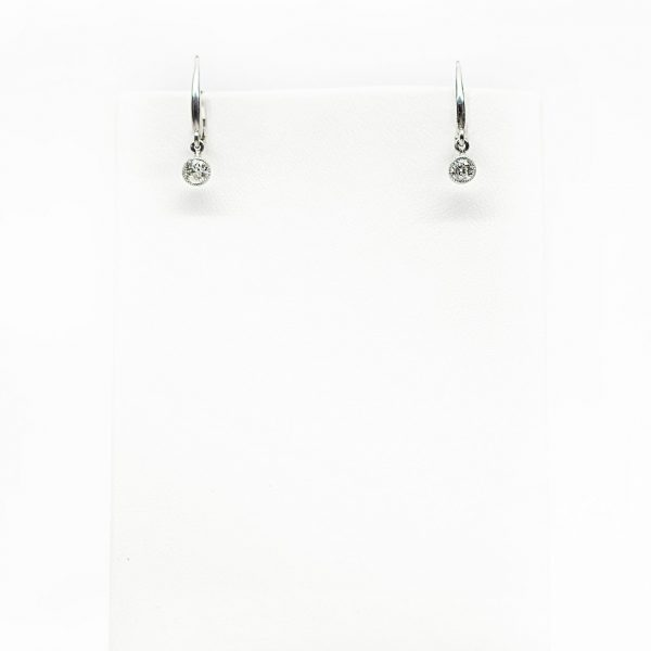 , Custom Made Old European Diamond Drop Earrings set in 14kt White Gold