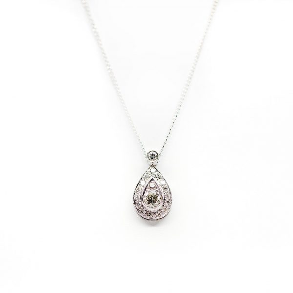 , Vintage White Gold and Diamond Pear Shape Necklace