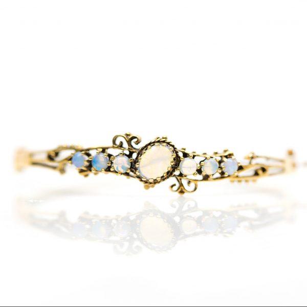 , Vintage 14kt Yellow Gold Moonstone Hinge Bracelet
