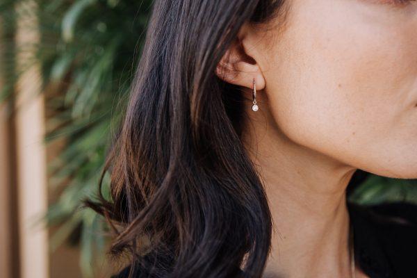, Custom Made Old European Diamond Drop Earrings set in 14kt White Gold