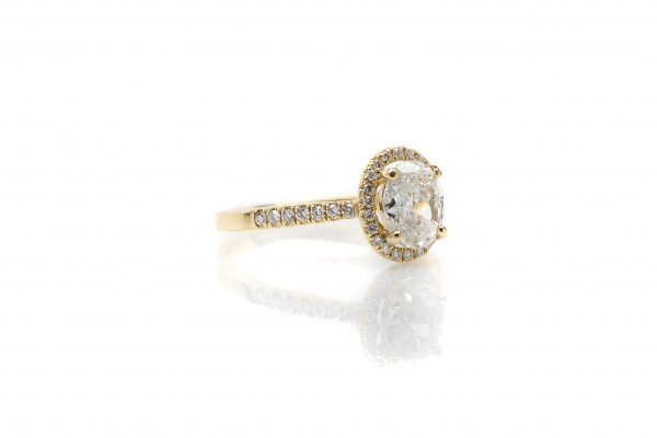 , 1.01 Oval Halo Style Engagement Ring