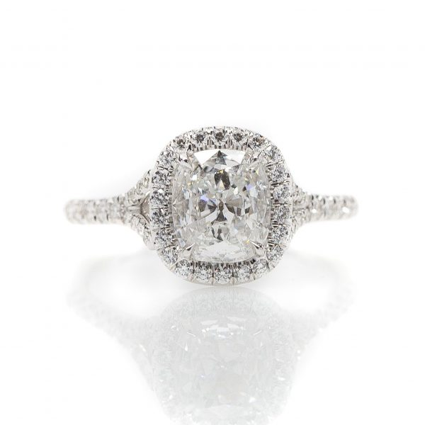 , 18kt White Gold Cushion Cut Diamond Engagement Ring