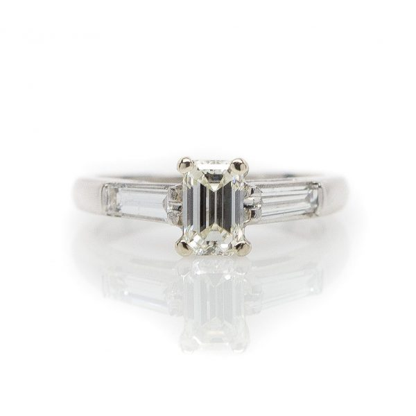 , Platinum Emerald Cut Diamond Engagement Ring