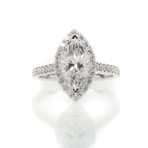 , 14kt White Gold Marquise Diamond Engagement Ring