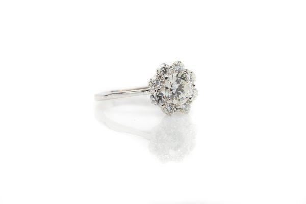 , 14kt White Gold Diamond Flower Fashion Ring
