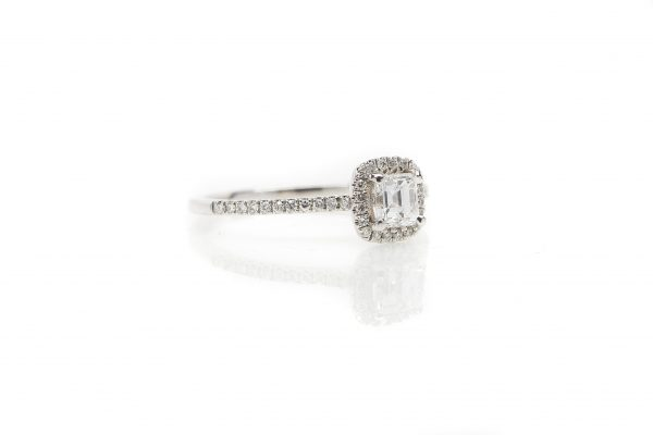 , 14kt White Gold Diamond Halo Engagement Ring