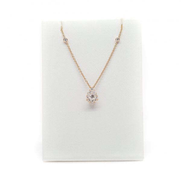 , 16″ Rose Gold and Diamond Tear Drop Pendant Necklace