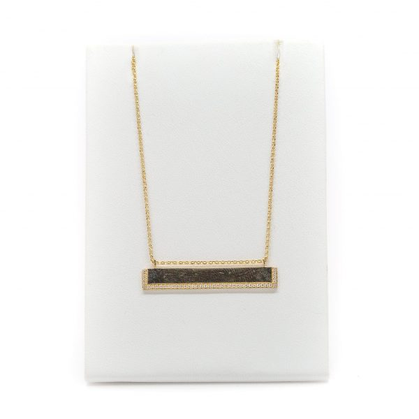 , 18″ Yellow Gold and Diamond Bar Necklace