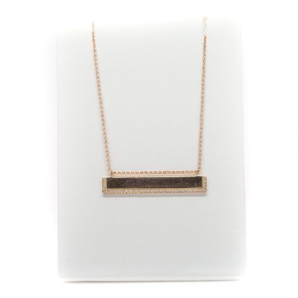 , 18″ Rose Gold and Diamond Bar Necklace