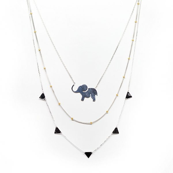 , 18″ Sterling Silver Elephant Pendant Necklace