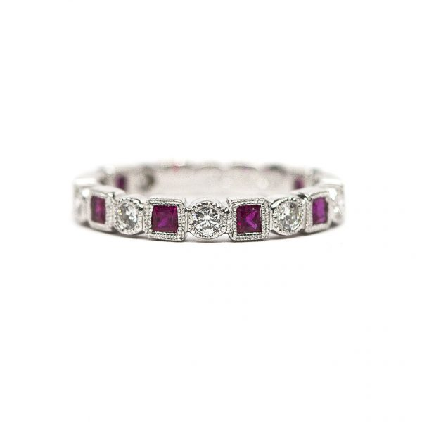 , Diamond and Ruby Band in 18K White Gold