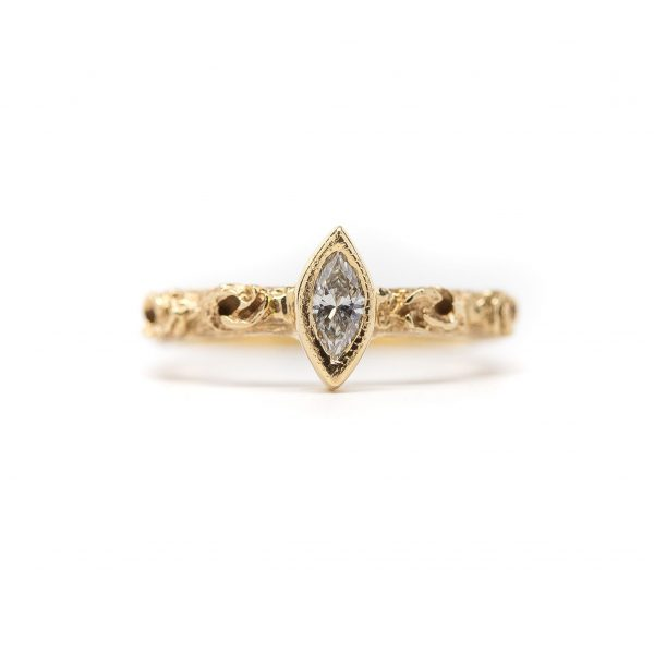 , Custom Made Yellow Gold Marquise Diamond Stackable Ring