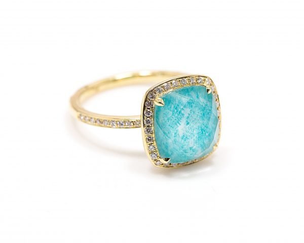 , 18kt Yellow Gold Quartz & Amazonite Fashion Ring