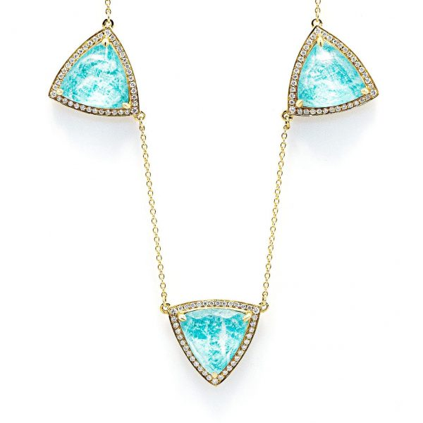 , 16-18″ Adjustable Yellow Gold Necklace; Stones are Triangular Shaped Clear Quartz Over Amazonite with Diamonds around each Triangle