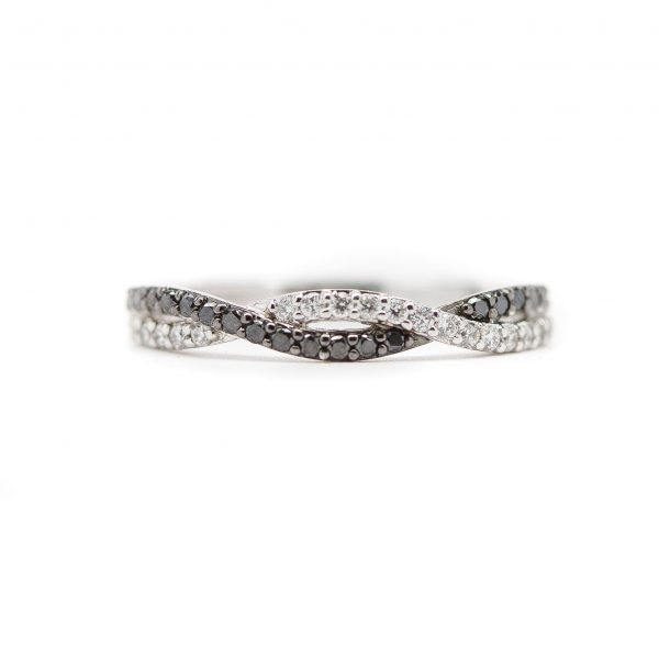 , Black and White Diamond Twist Stackable Band