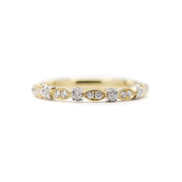 , Two Tone Diamond Stackable Ring with Milgrain Detail 14kt Yellow and White gold