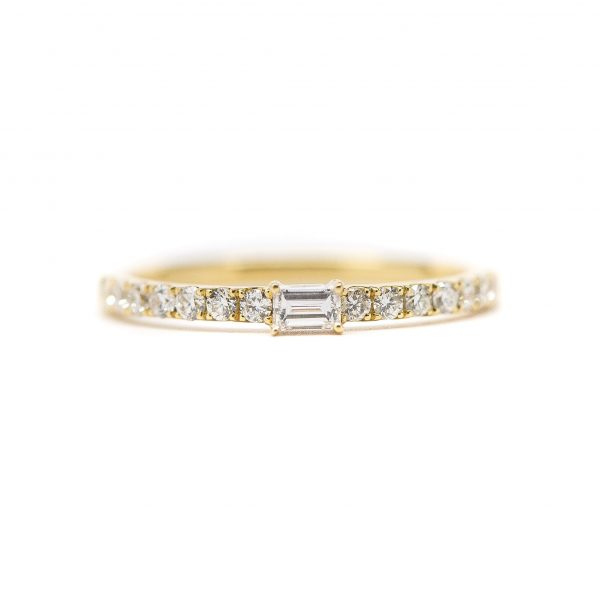 , Baguette Diamond Stackable Band 18kt Yellow Gold