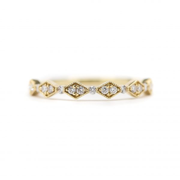 , Yellow Gold and Diamond Stackable Band