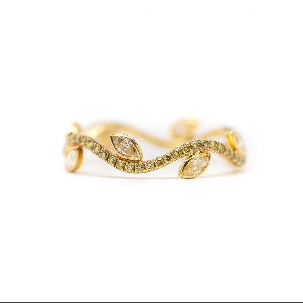 , 18kt yellow gold fancy yellow diamond leaf eternity band