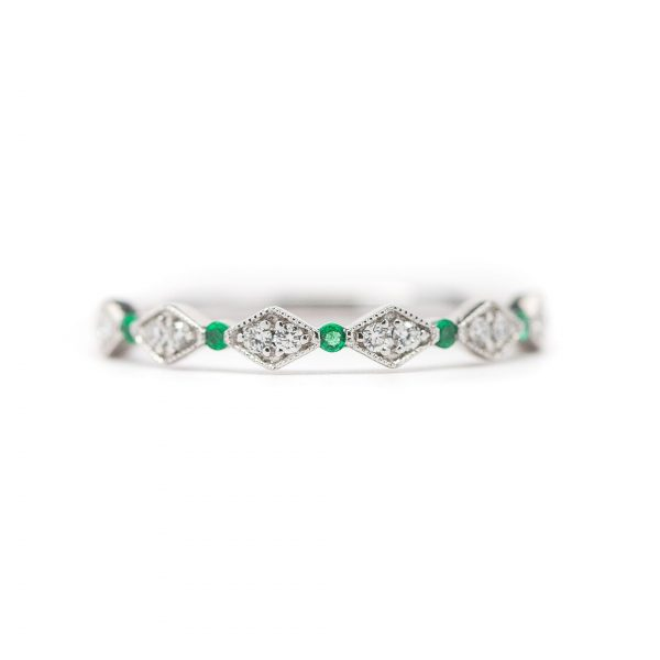 , Stackable Diamond and Emerald Band