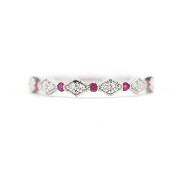 , Stackable Diamond and Ruby Band