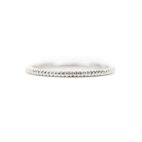 , Stackable white gold beaded band