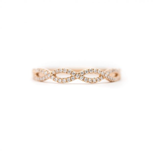 , Rose Gold Diamond Twisted Stackable Band