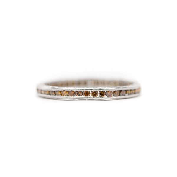 , Channel Set Orange Diamond Eternity Band