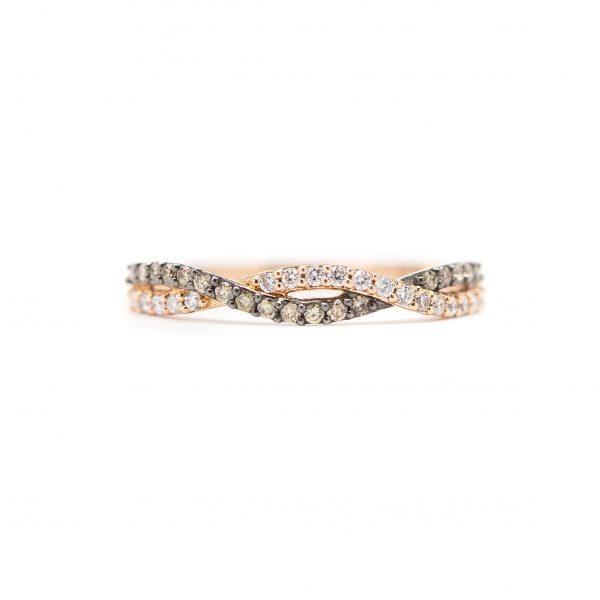 , White and Brown Diamond Twist Stackable Band