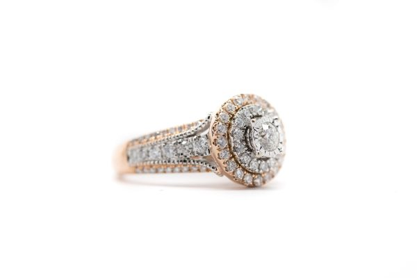 , Vintage 14kt Rose Gold and Diamond Ring