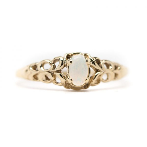 , Vintage 14kt Yellow Gold Opal Ring; Size 6