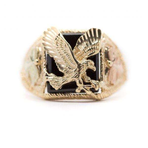 , Vintage Onyx Signet Ring; Size 13