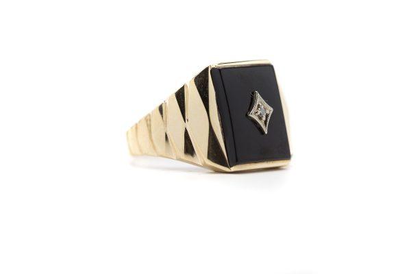 , Vintage Onyx Masonic Signet Ring; size 12.5