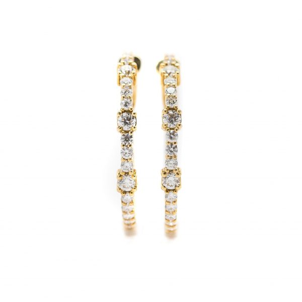 , 18kt Yellow Gold and Diamond Hoops
